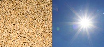Die erneuerbare Energien Solar und Pellets