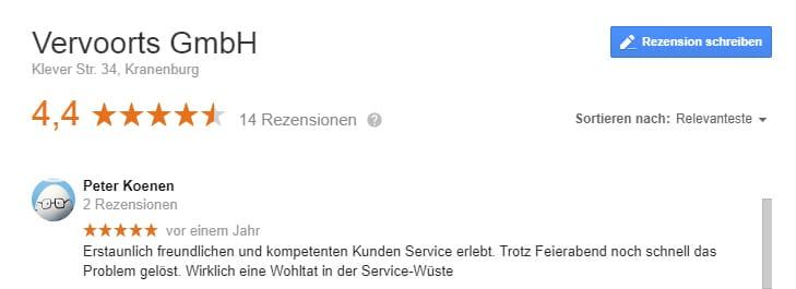 Google Kundenbewertung von Herrn Koenen über Vervoorts GmbH aus Kleve- Kranenburg