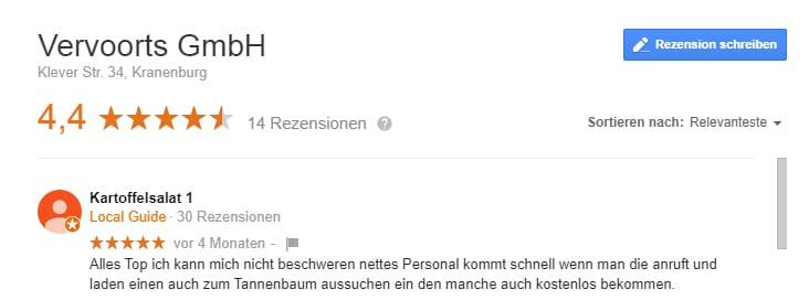 Google Kundenbewertung über Vervoorts GmbH aus Kleve- Kranenburg